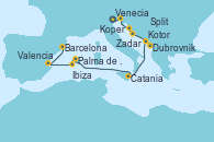 Visitando Venecia (Italia), Koper (Eslovenia), Zadar (Croacia), Split (Croacia), Dubrovnik (Croacia), Kotor (Montenegro), Catania (Sicilia), Palma de Mallorca (España), Ibiza (España), Valencia, Barcelona