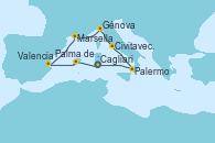 Visitando Cagliari (Cerdeña), Palma de Mallorca (España), Valencia, Marsella (Francia), Génova (Italia), Civitavecchia (Roma), Palermo (Italia), Cagliari (Cerdeña)