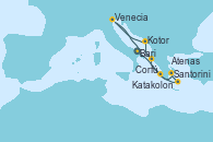 Visitando Bari (Italia), Katakolon (Olimpia/Grecia), Santorini (Grecia), Atenas (Grecia), Corfú (Grecia), Kotor (Montenegro), Venecia (Italia), Bari (Italia)