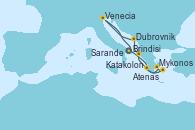Visitando Brindisi (Italia), Katakolon (Olimpia/Grecia), Mykonos (Grecia), Atenas (Grecia), Sarande (Albania), Dubrovnik (Croacia), Venecia (Italia), Brindisi (Italia)