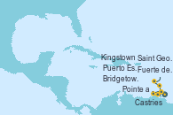 Visitando Fuerte de France (Martinica), Pointe a Pitre (Guadalupe), Castries (Santa Lucía/Caribe), Bridgetown (Barbados), Puerto España (Trinidad y Tobago), Saint George (Grenada), Kingstown (Granadinas), Fuerte de France (Martinica)