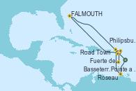 Visitando Fuerte de France (Martinica), Pointe a Pitre (Guadalupe), Road Town (Isla Tórtola/Islas Vírgenes), Philipsburg (St. Maarten), Roseau (Dominica), Basseterre (Antillas), St. John's (Antigua), Fuerte de France (Martinica)