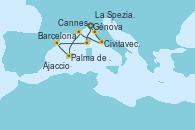 Visitando Génova (Italia), La Spezia, Florencia y Pisa (Italia), Civitavecchia (Roma), Cannes (Francia), Palma de Mallorca (España), Barcelona, Ajaccio (Córcega), Génova (Italia)