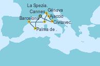 Visitando Cannes (Francia), Palma de Mallorca (España), Barcelona, Ajaccio (Córcega), Génova (Italia), La Spezia, Florencia y Pisa (Italia), Civitavecchia (Roma), Cannes (Francia)