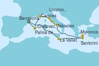 Visitando Barcelona, La Valletta (Malta), Santorini (Grecia), Mykonos (Grecia), Nápoles (Italia), Civitavecchia (Roma), Livorno, Pisa y Florencia (Italia), Cannes (Francia), Palma de Mallorca (España), Barcelona
