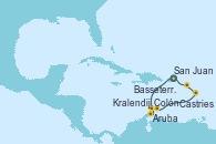 Visitando San Juan (Puerto Rico), Oranjestad (Aruba), Willemstad (Antillas), Kralendijk (Antillas), Castries (Santa Lucía/Caribe), Basseterre (Antillas), San Juan (Puerto Rico)