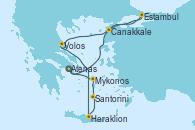 Visitando Atenas (Grecia), Estambul (Turquía), Estambul (Turquía), Canakkale (Turquía), Volos (Grecia), Heraklion (Creta), Santorini (Grecia), Mykonos (Grecia), Mykonos (Grecia), Atenas (Grecia)