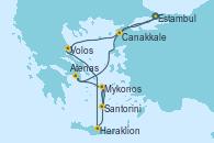 Visitando Estambul (Turquía), Estambul (Turquía), Canakkale (Turquía), Volos (Grecia), Heraklion (Creta), Santorini (Grecia), Mykonos (Grecia), Mykonos (Grecia), Atenas (Grecia), Estambul (Turquía)