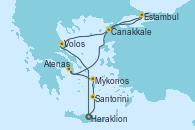 Visitando Heraklion (Creta), Santorini (Grecia), Mykonos (Grecia), Mykonos (Grecia), Atenas (Grecia), Estambul (Turquía), Estambul (Turquía), Canakkale (Turquía), Volos (Grecia), Heraklion (Creta)