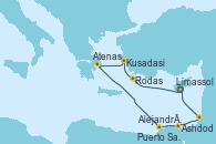 Visitando Limassol (Chipre), Rodas (Grecia), Kusadasi (Efeso/Turquía), Atenas (Grecia), Alejandría (Egipto), Puerto Said (Egipto), Ashdod (Israel), Limassol (Chipre)