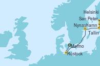 Visitando Malmo (Suecia), Rostock (Alemania), Nynashamn (Suecia), Tallin (Estonia), San Petersburgo (Rusia), San Petersburgo (Rusia), Helsinki (Finlandia)