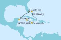 Visitando Puerto Cañaveral (Florida), Cozumel (México), Gran Caimán (Islas Caimán), Falmouth (Jamaica), Castaway (Bahamas), Puerto Cañaveral (Florida)