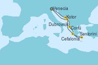 Visitando Venecia (Italia), Kotor (Montenegro), Corfú (Grecia), Cefalonia (Grecia), Santorini (Grecia), Dubrovnik (Croacia), Venecia (Italia)