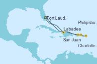 Visitando Fort Lauderdale (Florida/EEUU), Labadee (Haiti), San Juan (Puerto Rico), Charlotte Amalie (St. Thomas), Philipsburg (St. Maarten), Fort Lauderdale (Florida/EEUU)
