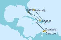 Visitando Miami (Florida/EEUU), Labadee (Haiti), Kralendijk (Antillas), Oranjestad (Aruba), Curacao (Antillas), Miami (Florida/EEUU)
