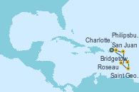 Visitando San Juan (Puerto Rico), Bridgetown (Barbados), Saint George (Grenada), Roseau (Dominica), Philipsburg (St. Maarten), Charlotte Amalie (St. Thomas), San Juan (Puerto Rico)