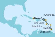 Visitando San Juan (Puerto Rico), Punta Cana (República Dominicana), Charlotte Amalie (St. Thomas), Martinica (Antillas), Castries (Santa Lucía/Caribe), Bridgetown (Barbados), San Juan (Puerto Rico)