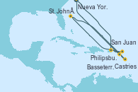 Visitando Nueva York (Estados Unidos), San Juan (Puerto Rico), Philipsburg (St. Maarten), St. John's (Antigua), Castries (Santa Lucía/Caribe), Basseterre (Antillas), Nueva York (Estados Unidos)