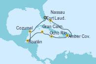 Visitando Fort Lauderdale (Florida/EEUU), Nassau (Bahamas), Amber Cove (República Dominicana), Ocho Ríos (Jamaica), Gran Caimán (Islas Caimán), Roatán (Honduras), Cozumel (México), Fort Lauderdale (Florida/EEUU)