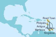 Visitando Pointe a Pitre (Guadalupe), Road Town (Isla Tórtola/Islas Vírgenes), Philipsburg (St. Maarten), Antigua (Antillas), Ketchikan (Alaska), Martinica (Antillas), Pointe a Pitre (Guadalupe)