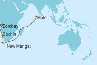 Visitando Bombay (India), Bombay (India), New Mangalore (La India), Cochin (India), Malé (Maldivas), Malé (Maldivas)