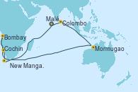 Visitando Malé (Maldivas), Malé (Maldivas), Colombo (Sri Lanka), Mormugao (India), Bombay (India), Bombay (India), Bombay (India), New Mangalore (La India), Cochin (India), Malé (Maldivas), Malé (Maldivas)