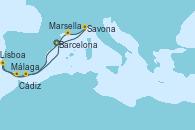 Visitando Barcelona, Savona (Italia), Marsella (Francia), Málaga, Lisboa (Portugal), Lisboa (Portugal), Cádiz (España), Barcelona
