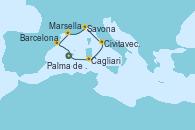 Visitando Palma de Mallorca (España), Palma de Mallorca (España), Cagliari (Cerdeña), Civitavecchia (Roma), Savona (Italia), Marsella (Francia), Barcelona, Palma de Mallorca (España)