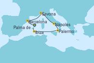 Visitando Palma de Mallorca (España), Barcelona, Savona (Italia), Nápoles (Italia), Palermo (Italia), Ibiza (España), Ibiza (España), Palma de Mallorca (España)