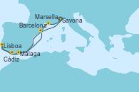 Visitando Savona (Italia), Marsella (Francia), Málaga, Lisboa (Portugal), Lisboa (Portugal), Cádiz (España), Barcelona, Savona (Italia)