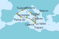 Visitando Savona (Italia), Toulon (Francia), Tarragona (España), Palma de Mallorca (España), Cagliari (Cerdeña), Trapani (Italia), La Valletta (Malta), Catania (Sicilia), Salerno (Italia), Civitavecchia (Roma), Savona (Italia)