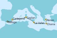 Visitando Málaga, Cartagena (Murcia), Cagliari (Cerdeña), La Valletta (Malta), Chania (Creta/Grecia), Atenas (Grecia)