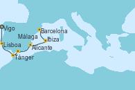 Visitando Vigo (España), Lisboa (Portugal), Tánger (Marruecos), Málaga, Alicante (España), Ibiza (España), Barcelona