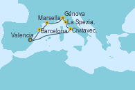 Visitando Valencia, Civitavecchia (Roma), La Spezia, Florencia y Pisa (Italia), Génova (Italia), Marsella (Francia), Barcelona, Valencia
