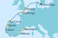 Visitando Copenhague (Dinamarca), Harwich (Inglaterra), Cherburgo (Francia), La Coruña (Galicia/España), Oporto (Portugal), Lisboa (Portugal), Valencia, Barcelona