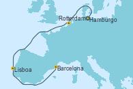Visitando Hamburgo (Alemania), Rotterdam (Holanda), Rotterdam (Holanda), Lisboa (Portugal), Lisboa (Portugal), Barcelona