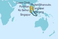 Visitando Singapur, Langkawi (Malasia), Phuket (Tailandia), Phuket (Tailandia), Penang (Malasia), Kuala Lumpur (Malasia), Singapur, Ko Samui (Tailandia), Laem Chabang (Bangkok/Thailandia), Laem Chabang (Bangkok/Thailandia), Sihanoukville (Camboya), Singapur