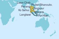 Visitando Singapur, Port Klang (Malasia), Langkawi (Malasia), Phuket (Tailandia), Phuket (Tailandia), Penang (Malasia), Malaca (Malasia), Singapur, Ko Samui (Tailandia), Laem Chabang (Bangkok/Thailandia), Laem Chabang (Bangkok/Thailandia), Sihanoukville (Camboya), Singapur