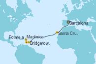 Visitando Barcelona, Santa Cruz de Tenerife (España), Bridgetown (Barbados), Martinica (Antillas), Pointe a Pitre (Guadalupe)