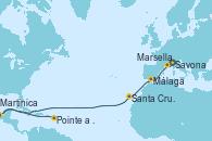 Visitando Savona (Italia), Marsella (Francia), Málaga, Santa Cruz de Tenerife (España), Martinica (Antillas), Pointe a Pitre (Guadalupe)