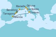 Visitando Barcelona, Valencia, Civitavecchia (Roma), La Spezia, Florencia y Pisa (Italia), Génova (Italia), Marsella (Francia), Tarragona (España)