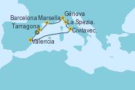 Visitando Tarragona (España), Valencia, Civitavecchia (Roma), La Spezia, Florencia y Pisa (Italia), Génova (Italia), Marsella (Francia), Barcelona