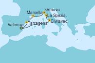 Visitando Valencia, Civitavecchia (Roma), La Spezia, Florencia y Pisa (Italia), Génova (Italia), Marsella (Francia), Tarragona (España), Valencia