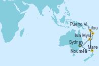 Visitando Sydney (Australia), Mare (Nueva Caledonia), Puerto Vila (Vanuatu), Lifou (Isla Loyalty/Nueva Caledonia), Isla Mystery (Vanuatu), Nouméa (Nueva Caledonia), Sydney (Australia)