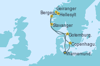 Visitando Warnemunde (Alemania), Copenhague (Dinamarca), Hellesylt (Noruega), Geiranger (Noruega), Bergen (Noruega), Stavanger (Noruega), Gotemburgo (Suecia), Warnemunde (Alemania)
