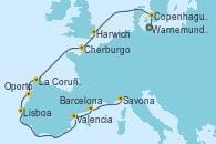 Visitando Warnemunde (Alemania), Copenhague (Dinamarca), Harwich (Inglaterra), Cherburgo (Francia), La Coruña (Galicia/España), Oporto (Portugal), Lisboa (Portugal), Valencia, Barcelona, Savona (Italia)