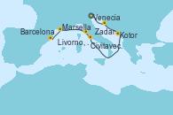 Visitando Venecia (Italia), Zadar (Croacia), Kotor (Montenegro), Civitavecchia (Roma), Livorno, Pisa y Florencia (Italia), Marsella (Francia), Barcelona