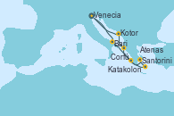 Visitando Venecia (Italia), Bari (Italia), Katakolon (Olimpia/Grecia), Santorini (Grecia), Atenas (Grecia), Corfú (Grecia), Kotor (Montenegro), Venecia (Italia)