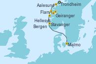 Visitando Trondheim (Noruega), Aalesund (Noruega), Geiranger (Noruega), Hellesylt (Noruega), Flam (Noruega), Bergen (Noruega), Stavanger (Noruega), Malmo (Suecia)