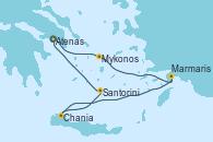 Visitando Atenas (Grecia), Atenas (Grecia), Mykonos (Grecia), Marmaris (Turquía), Chania (Creta/Grecia), Santorini (Grecia), Atenas (Grecia)